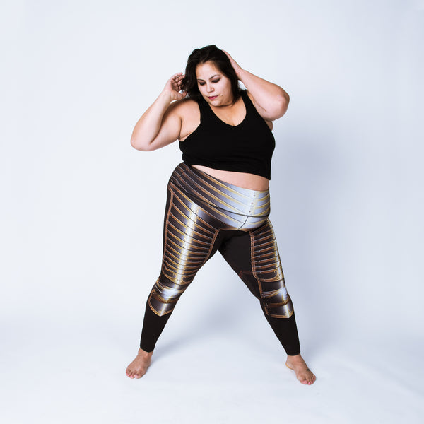 Printed plus size leggings based on the field armor of Henry VIII
