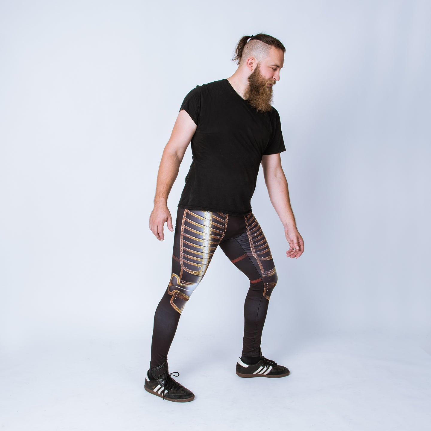 Printed men's leggings based on the field armor of Henry VIII