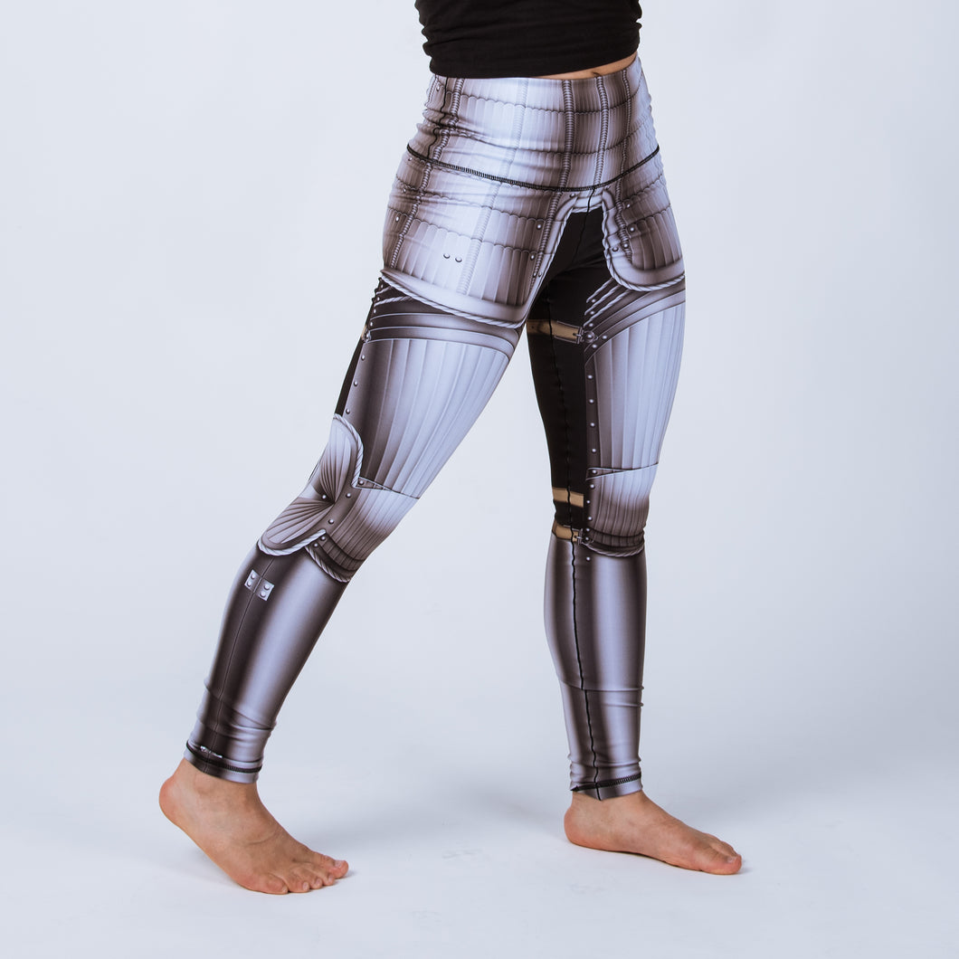 Historical female armor leggings based on Maximillian armor