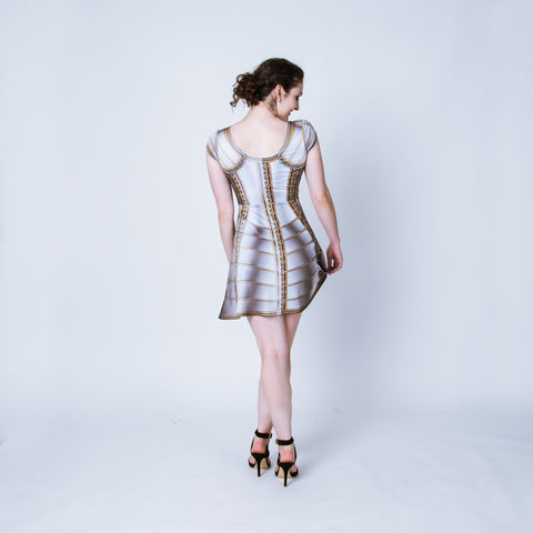Printed white plate armor dress