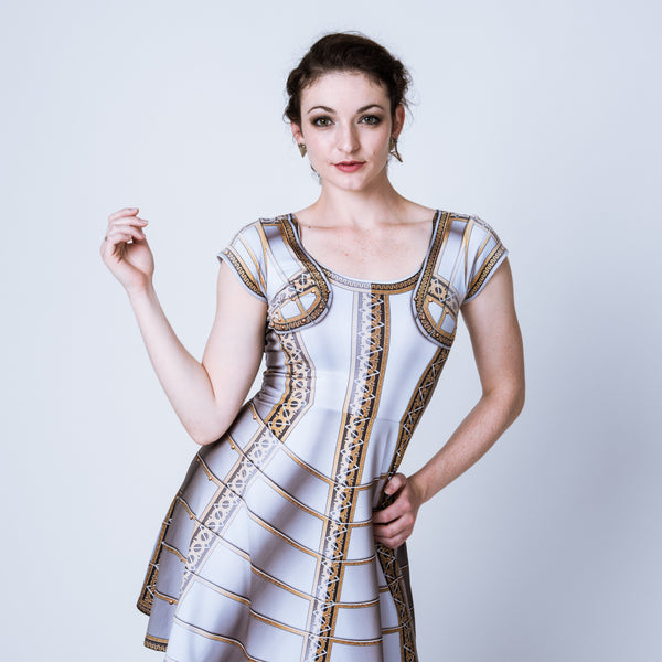 Historical plate armor skater dress based on the field garniture of Lord Brockhurst