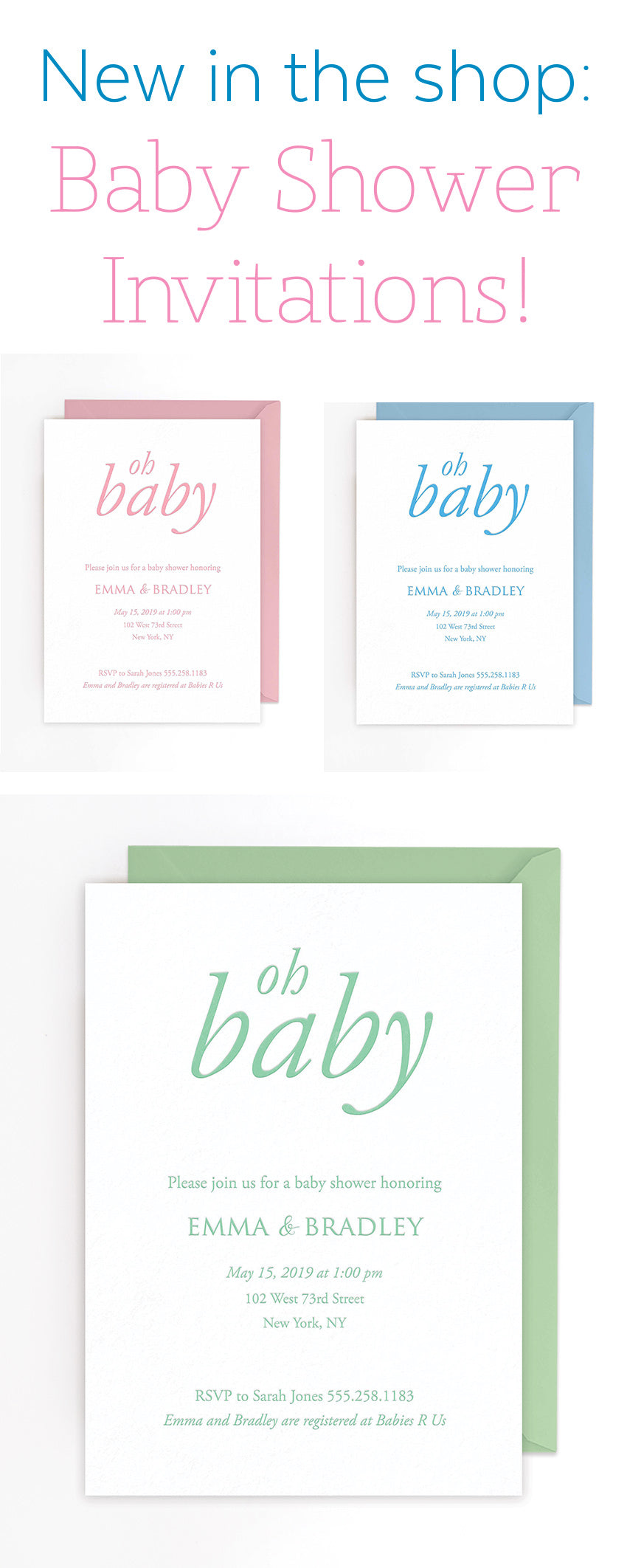 New in the Shop: Baby Shower Invitations