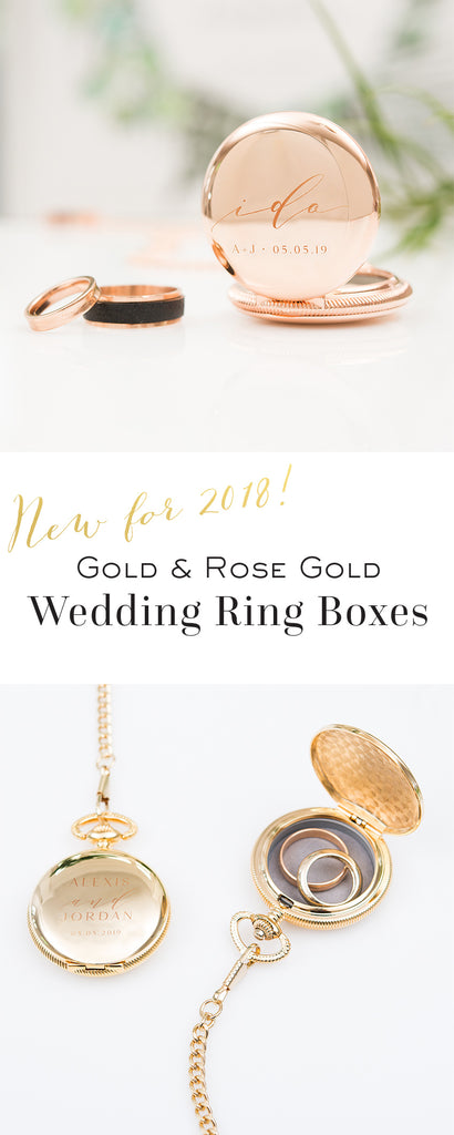 Gold and Rose Gold Wedding Ring Boxes - New for 2018