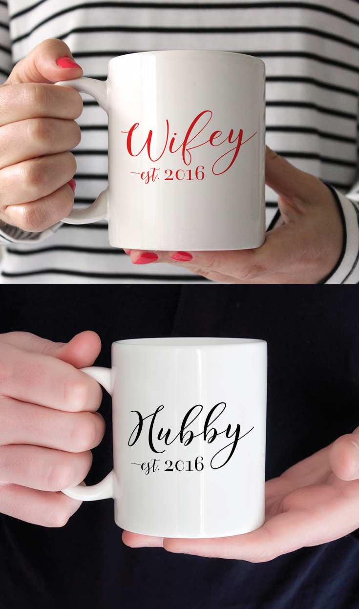 Remember Your Wedding Day Every Day with Wifey & Hubby Mugs