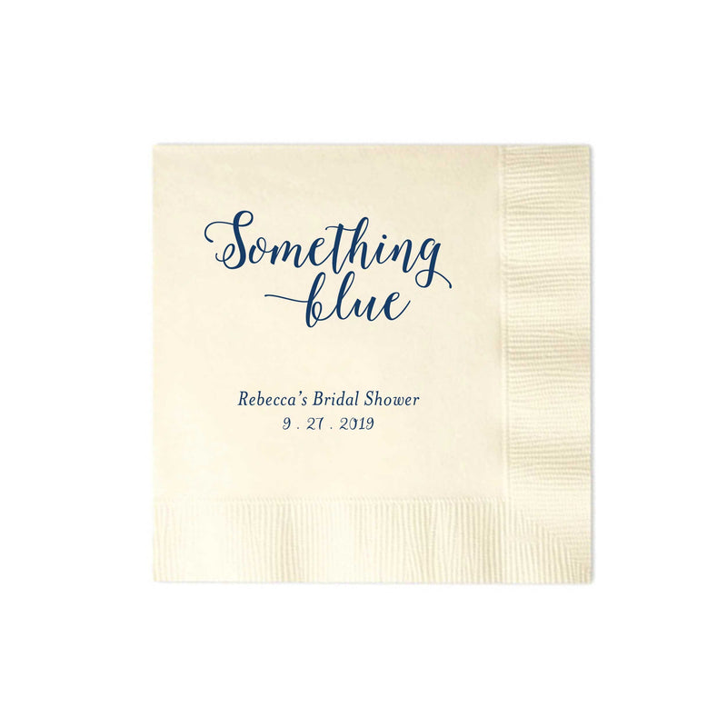 Something Blue Napkins - Set of 100 Foil Personalized Cocktail Napkin -Bridget Collection - Tea and Becky