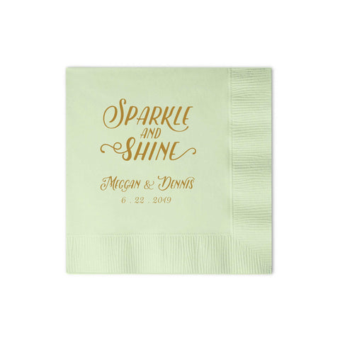 Sparkle and Shine Napkins - Set of 50 Foil Personalized Cocktail Napkin - Emma Collection - Tea and Becky