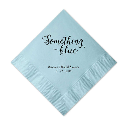 Something Blue Napkins - Set of 50 Foil Personalized Cocktail Napkin -Bridget Collection - Tea and Becky