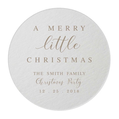 Merry Little Christmas Coasters – Personalized Holiday Favors - 25 Set - Tea and Becky