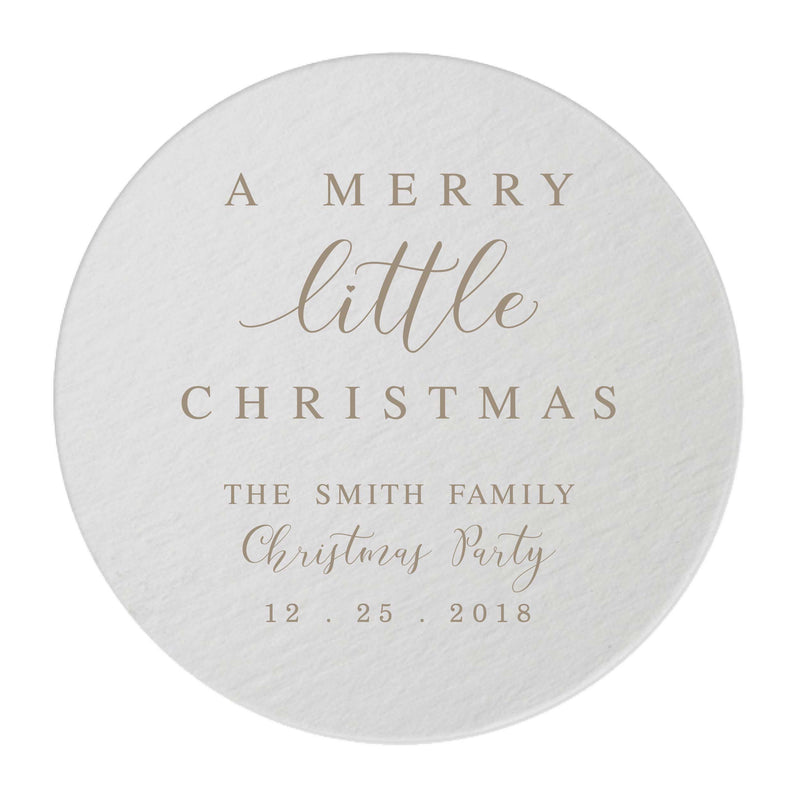Personalized Merry Little Christmas Coasters - Tea and Becky
