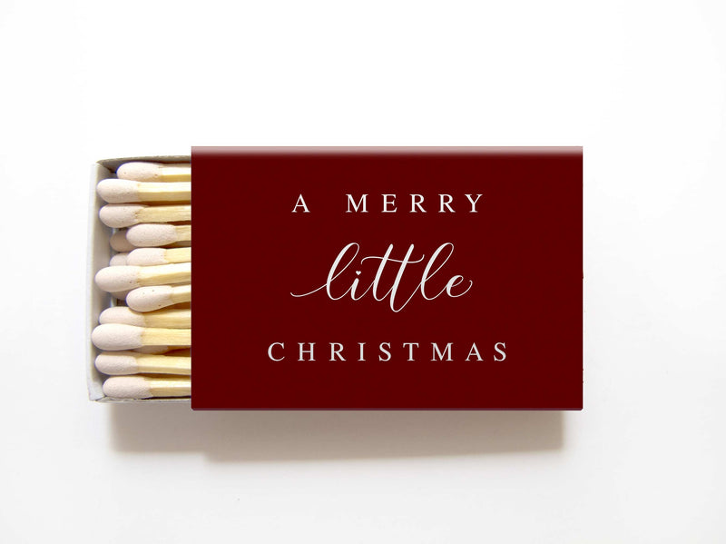 Merry Little Christmas Matchboxes - Personalized Holiday Matches - Tea and Becky