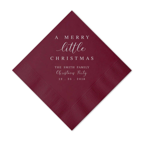 Merry Little Christmas Napkins - Set of 50 Personalized Holiday Napkins - Tea and Becky