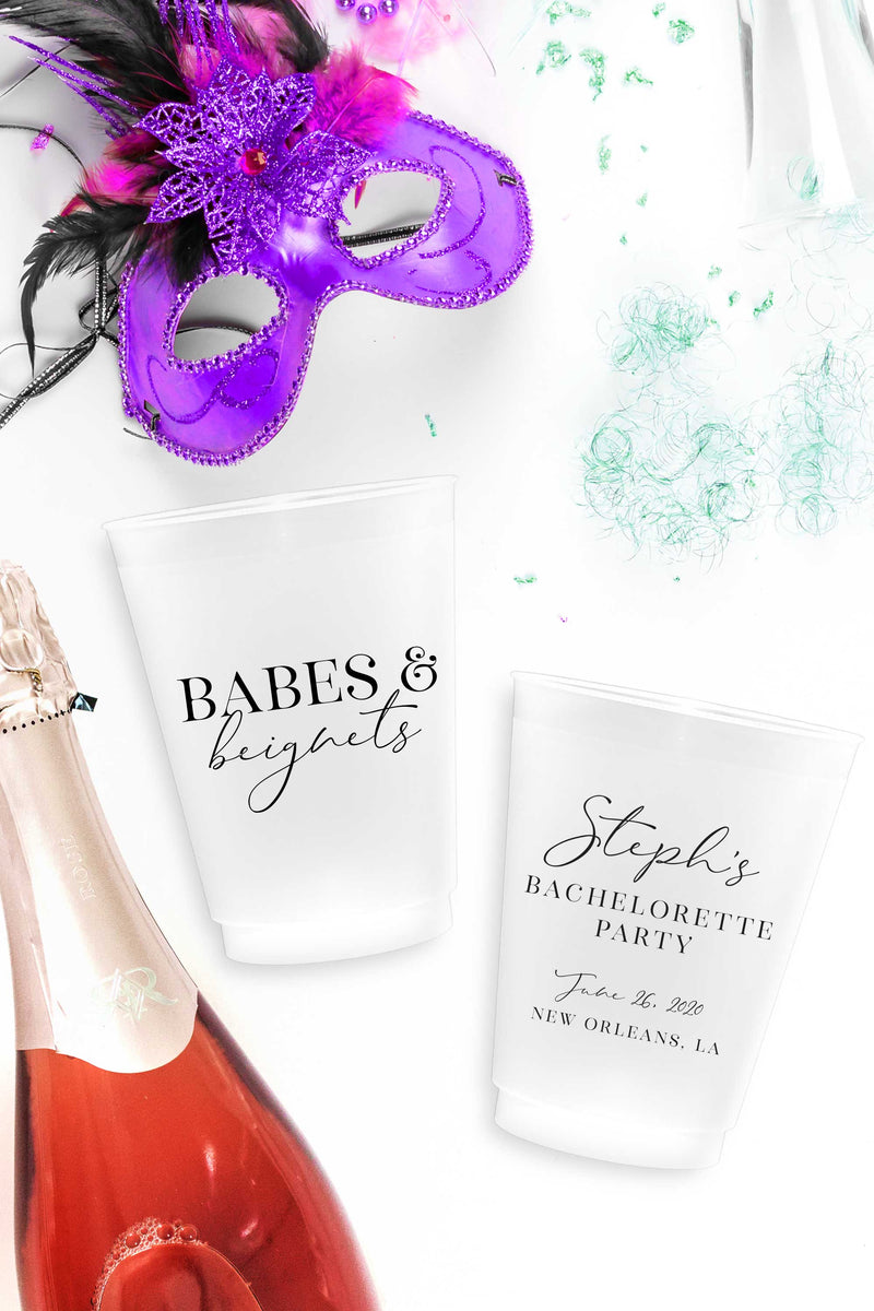 Babes & Beignets Personalized Bachelorette Party Cups - Tea and Becky