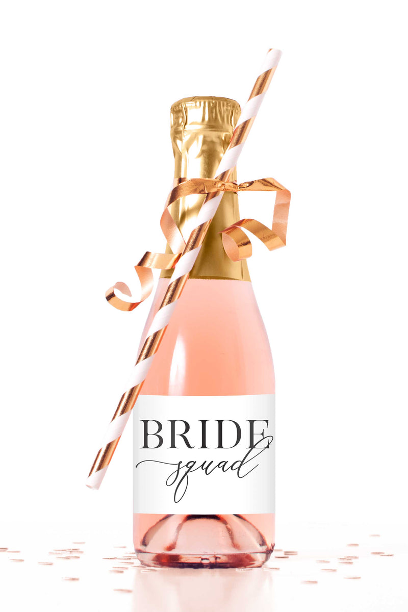 Bride Squad Mini Champagne Bottle Labels - Tea and Becky