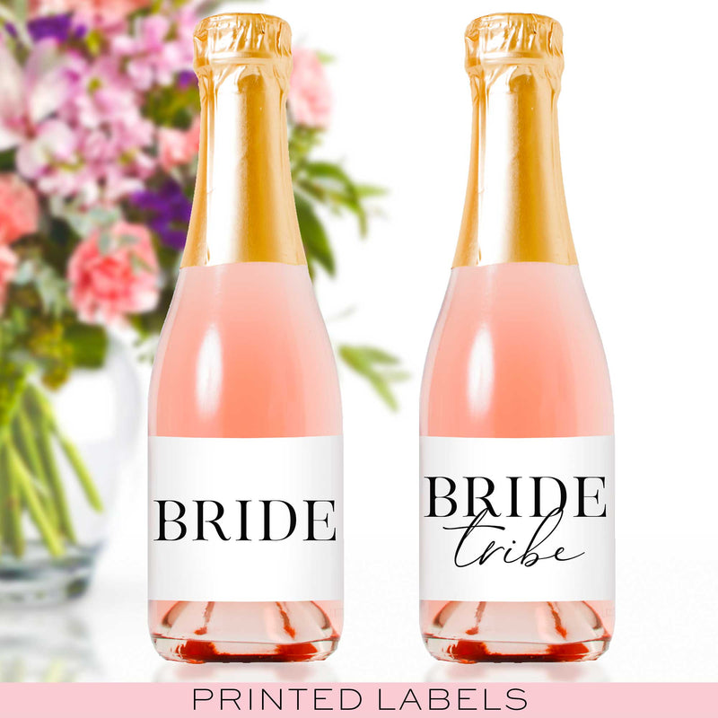 Bride Tribe Mini Champagne Bottle Labels - Tea and Becky
