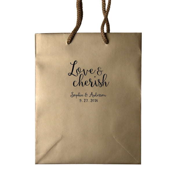 Love and Cherish Personalized Wedding Welcome Bags - Alicia Collection - Tea and Becky