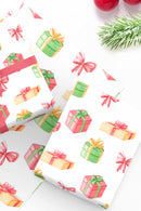 Christmas Gifts Watercolor Wrapping Paper Sheets - Free Shipping - Tea and Becky