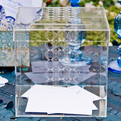 Circle Of Love Lucite Wedding Card Box - Wishing Well - Tea and Becky