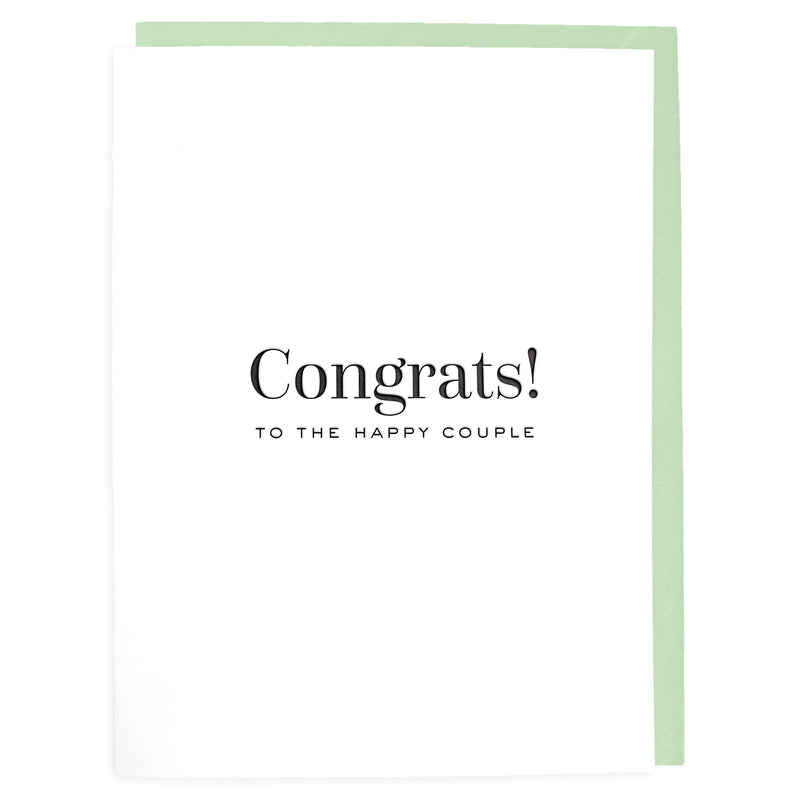 Congrats to the Happy Couple Card - Letterpress Greeting Card - Tea and Becky