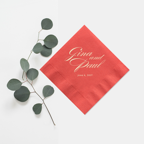 Personalized Napkins - Foil Wedding Cocktail Napkin - Audrey Collection - Tea and Becky