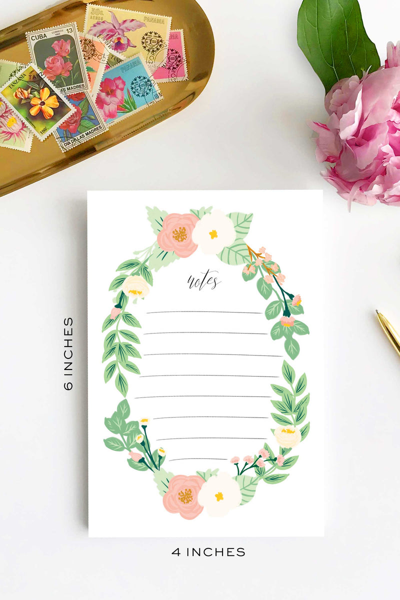 Watercolor Notepad - Flower Wreath 4x6 To Do Notepad - Tea and Becky