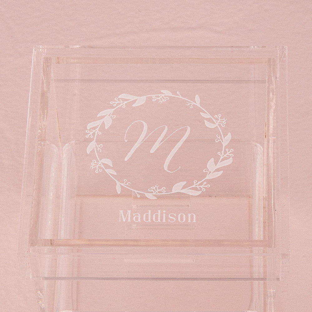 Monogrammed Botanical Wreath Personalized Lucite Wedding Ring Box ...