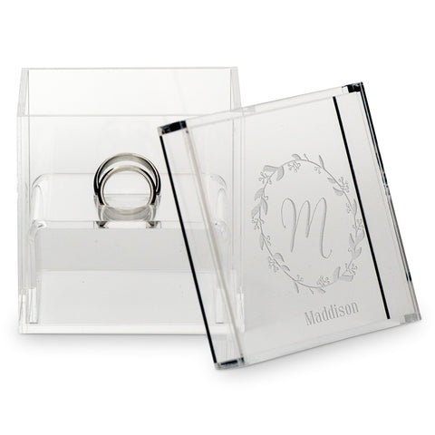 Monogrammed Botanical Wreath Personalized Lucite Wedding Ring Box - Tea and Becky