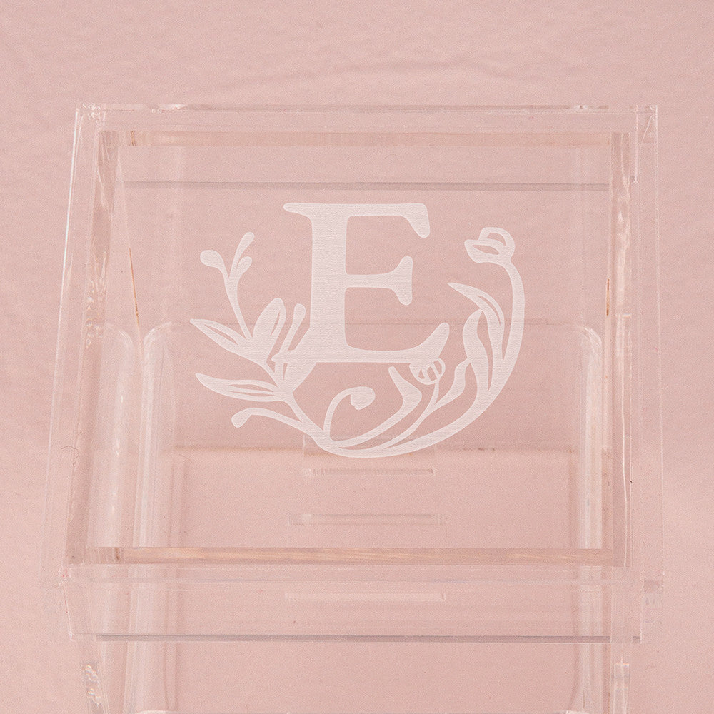 Monogrammed Floral Personalized Lucite Wedding Ring Box – Tea and Becky
