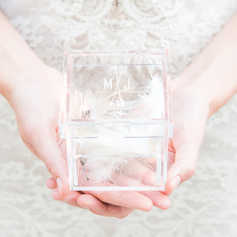 Monogrammed Arrow and Feather Personalized Lucite Wedding Ring Box - Tea and Becky
