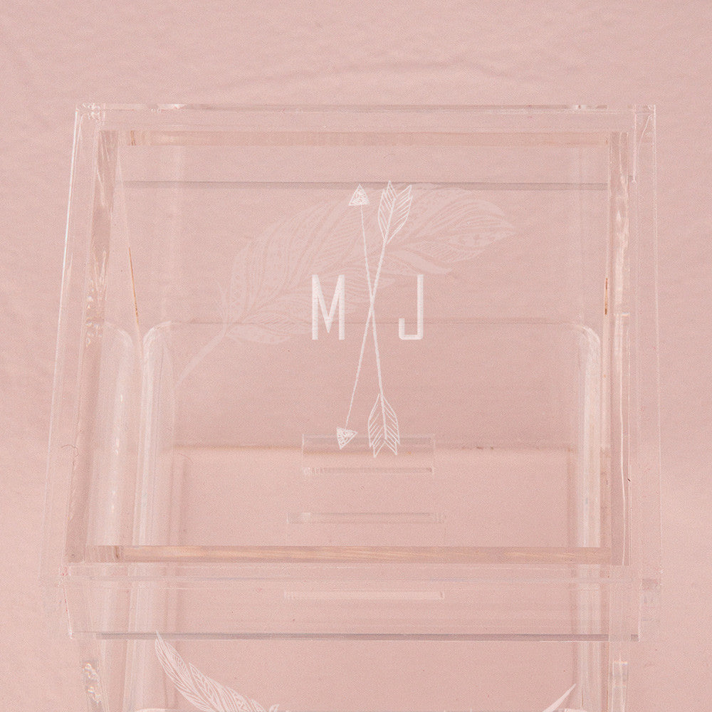 Monogrammed Arrow and Feather Personalized Lucite Wedding Ring Box ...