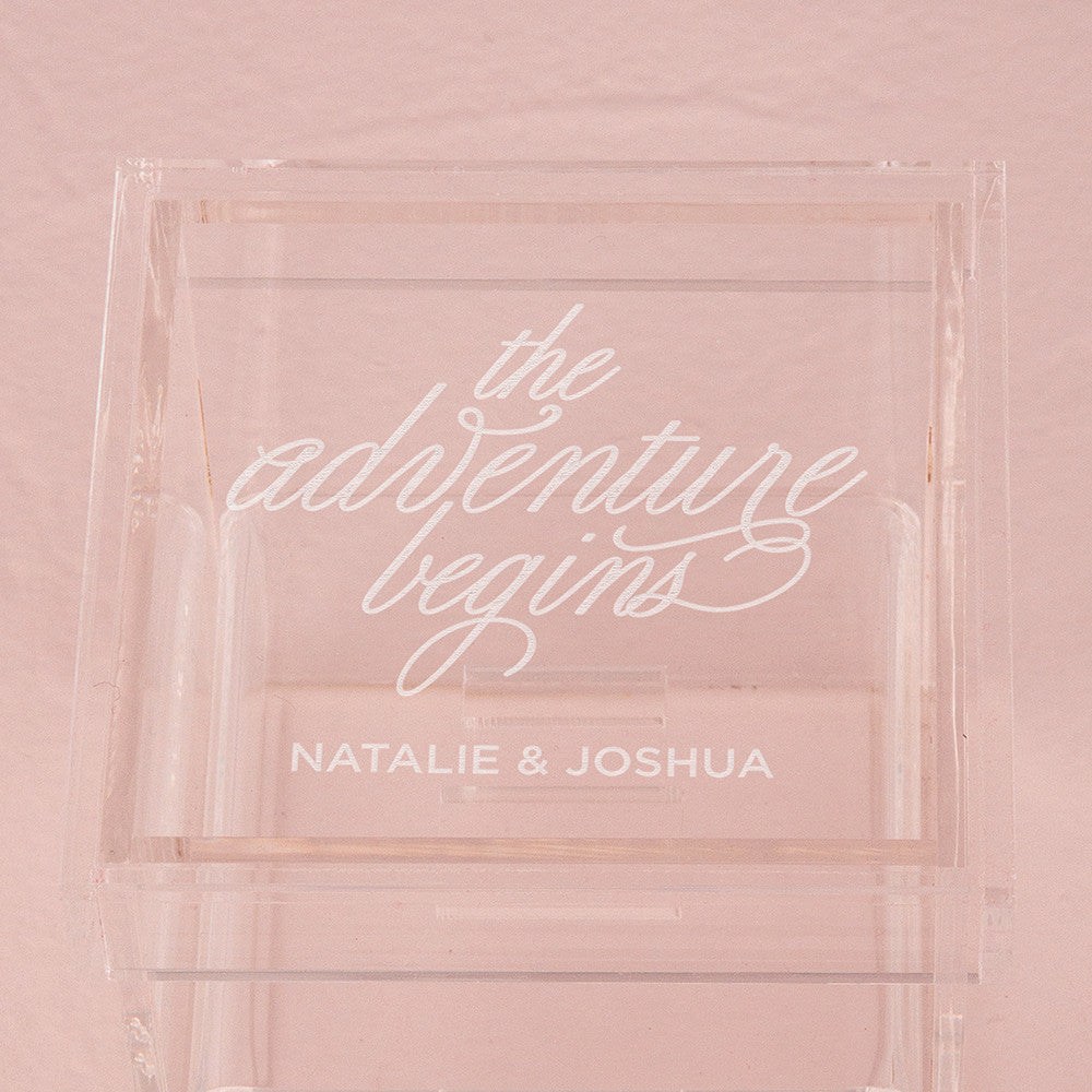 The Adventure Begins Personalized Lucite Wedding Ring Box – Tea and ...