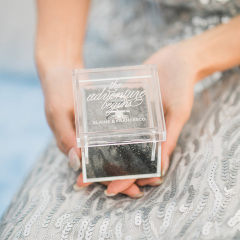 The Adventure Begins Personalized Lucite Wedding Ring Box - Tea and Becky