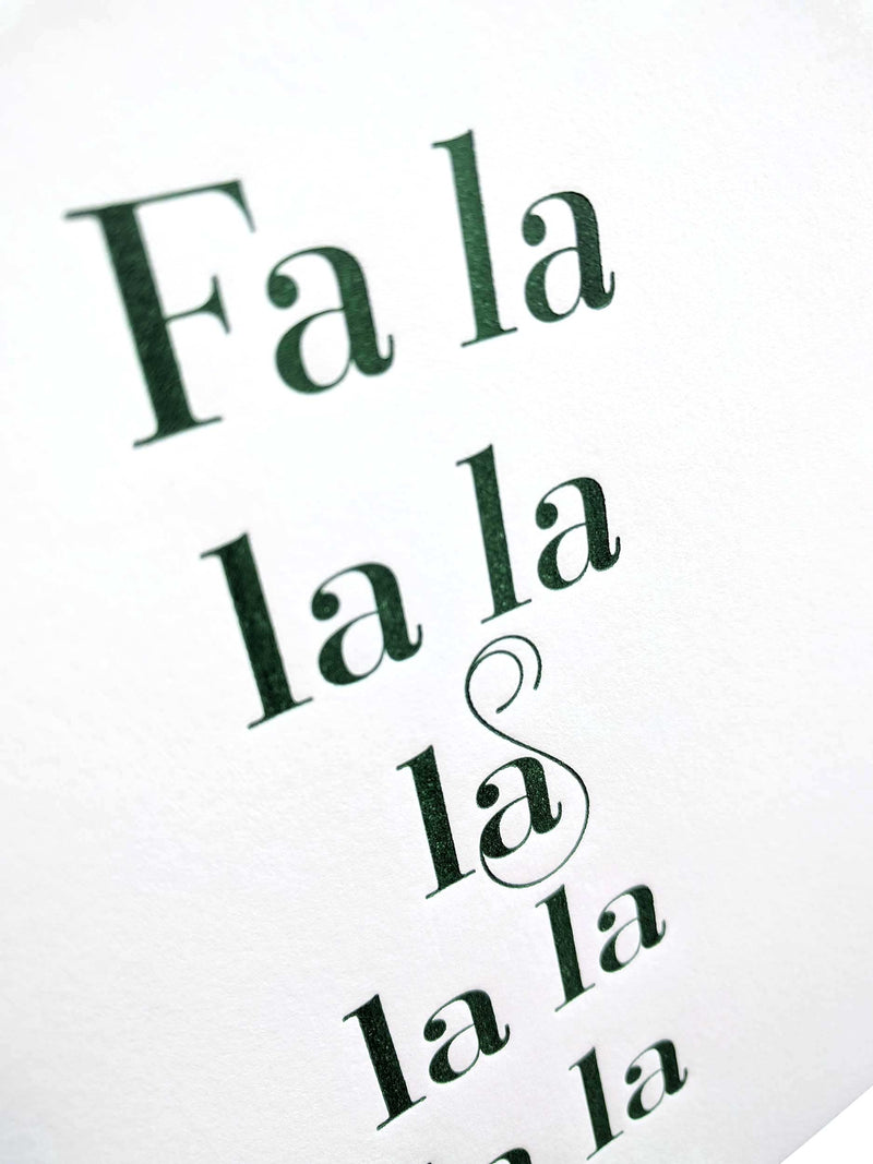 Fa La La Letterpress Christmas Card - Tea and Becky