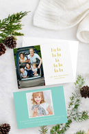 Fa La La Photo Christmas Cards - Flat Printed Foil or Letterpress - Tea and Becky