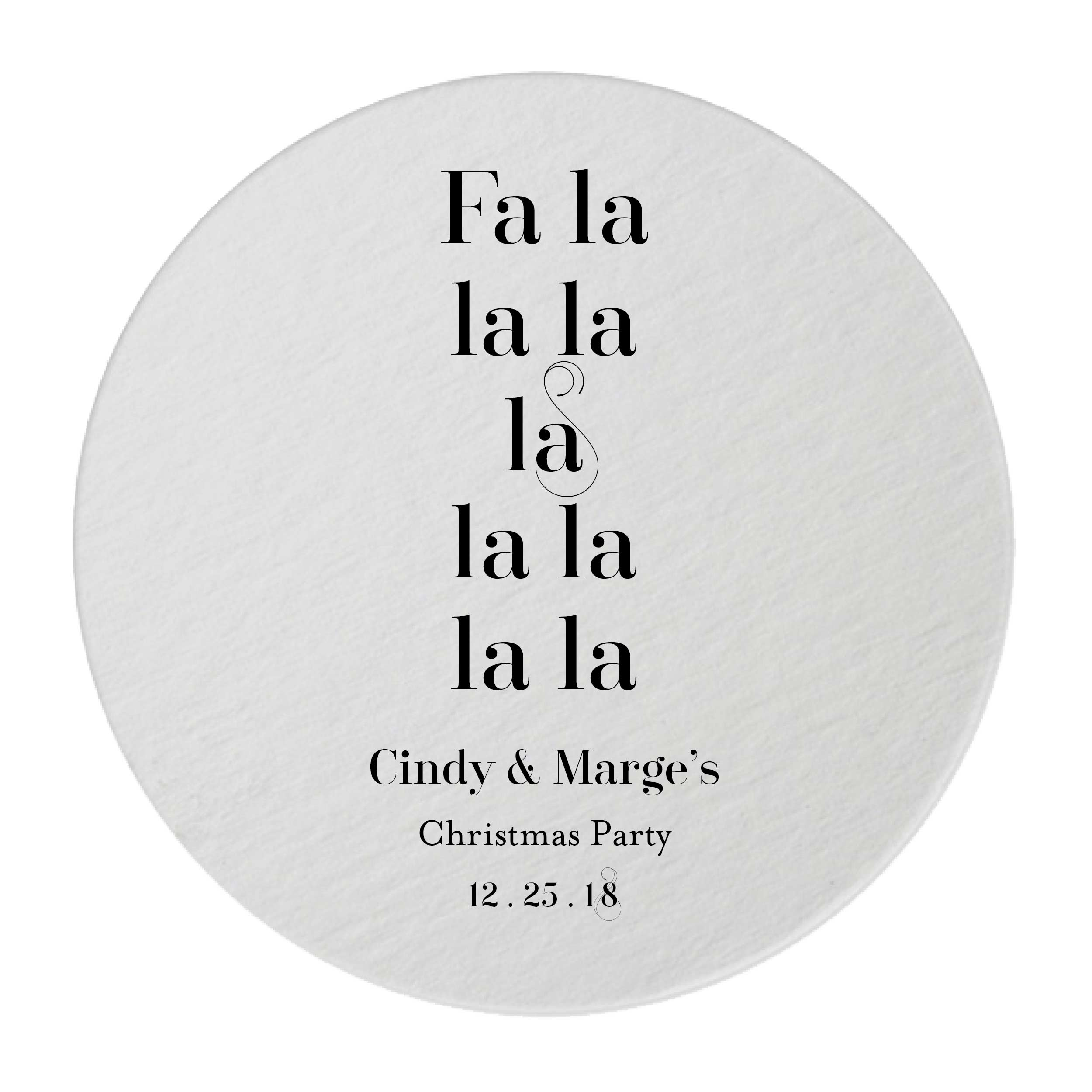Fa La La Christmas Coasters – Personalized Holiday Favors - 25 Set ...