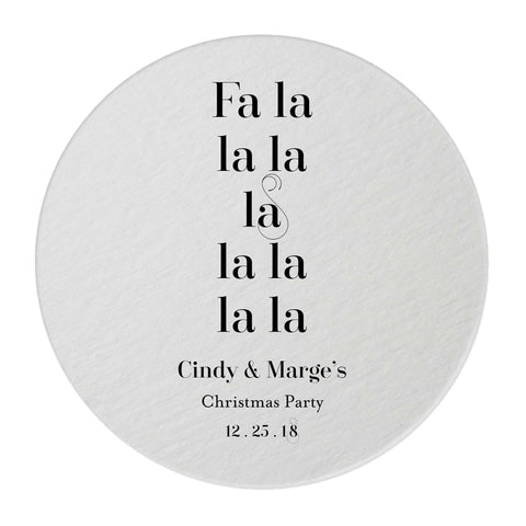 Fa La La Christmas Coasters – Personalized Holiday Favors - 25 Set - Tea and Becky