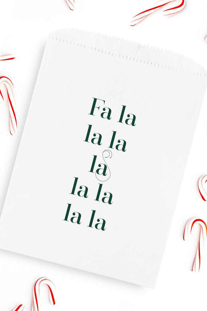 Fa La La Christmas Candy Bags - Holiday Treat Bags - Ivory or White - Tea and Becky
