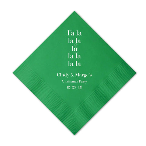 Fa La La Christmas Napkins - Set of 50 Personalized Holiday Napkins - Tea and Becky