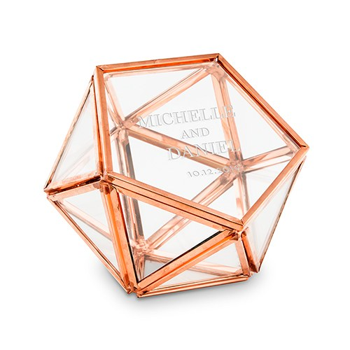 Geometric Ring Box - Personalized Wedding Ring Boxes - Modern Terrarium Rose Gold - Tea and Becky