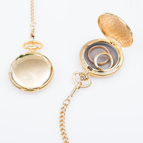 Gold Wedding Ring Box - Pocket Case with Chain - Tea and Becky