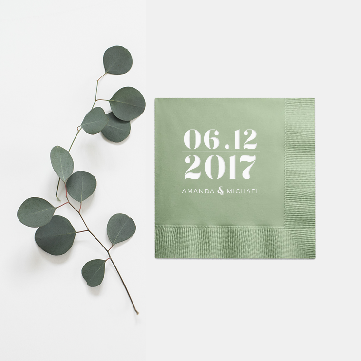 Personalized Napkins - Set of 100 Foil Wedding Cocktail Napkin - Holly Collection - Tea and Becky