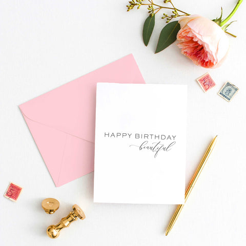 Happy Birthday Beautiful Card - Letterpress Greeting Card - Tea and Becky