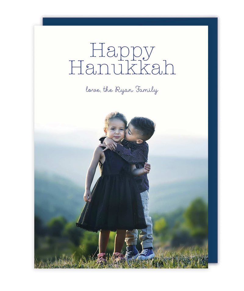 Happy Hanukkah Photo Cards - Flat Printed Letterpress or Foil Holiday Cards - Tea and Becky