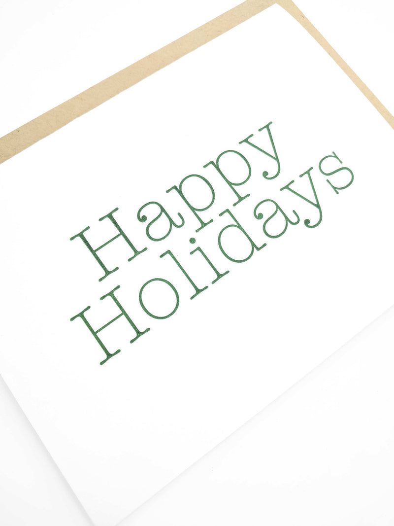 Happy Holidays Letterpress Holiday Cards - Set of 6 - Tea and Becky