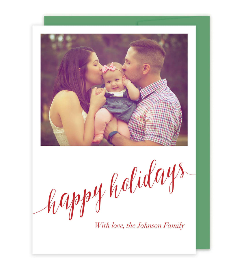 Photo Happy Holidays Cards - Foil Letterpress Christmas Cards or Flat Printed - Tea and Becky