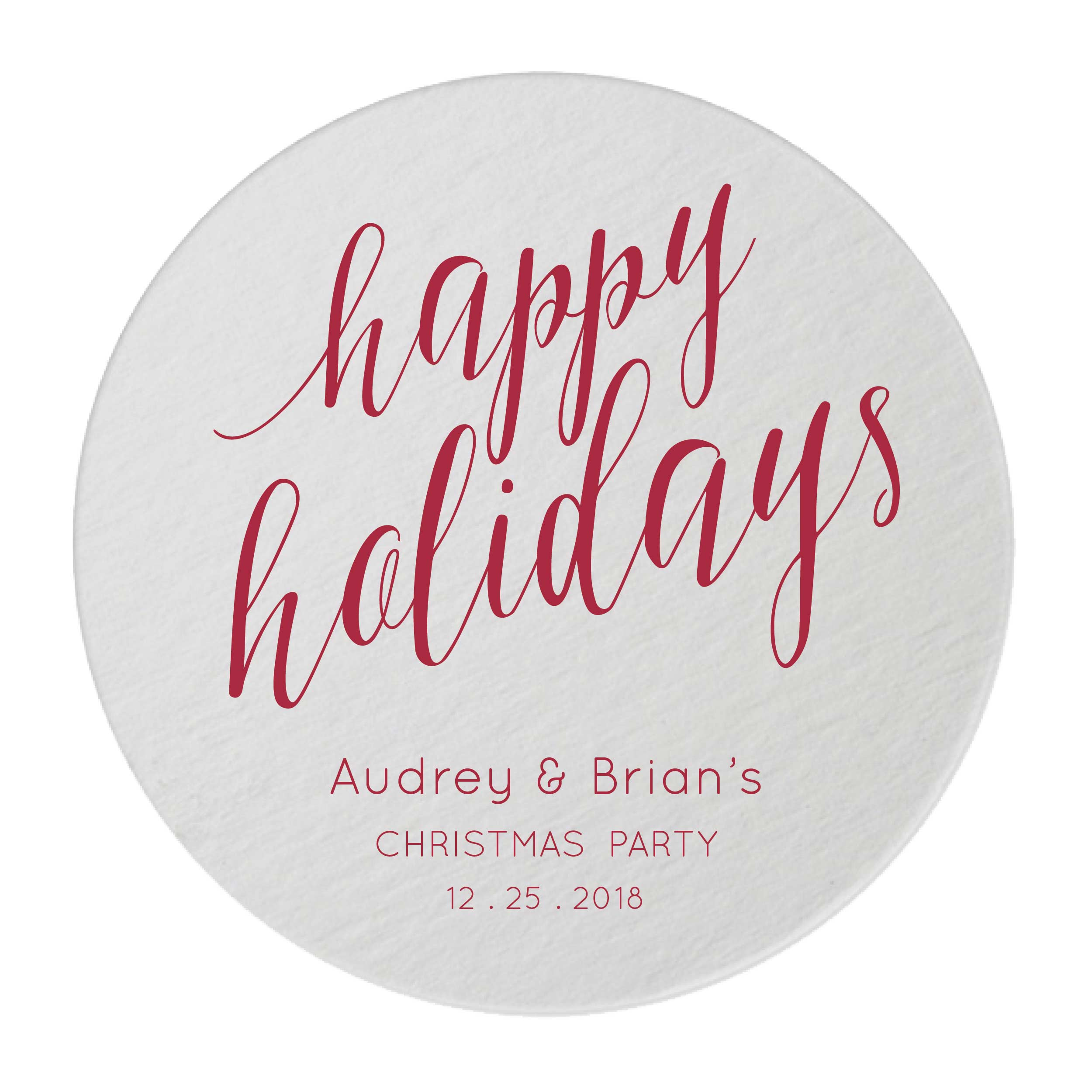 Happy Holidays Coasters – Personalized Holiday Favors - 25 Set ...