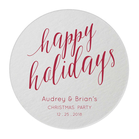 Happy Holidays Coasters – Personalized Holiday Favors - 25 Set - Mary Collection - Tea and Becky