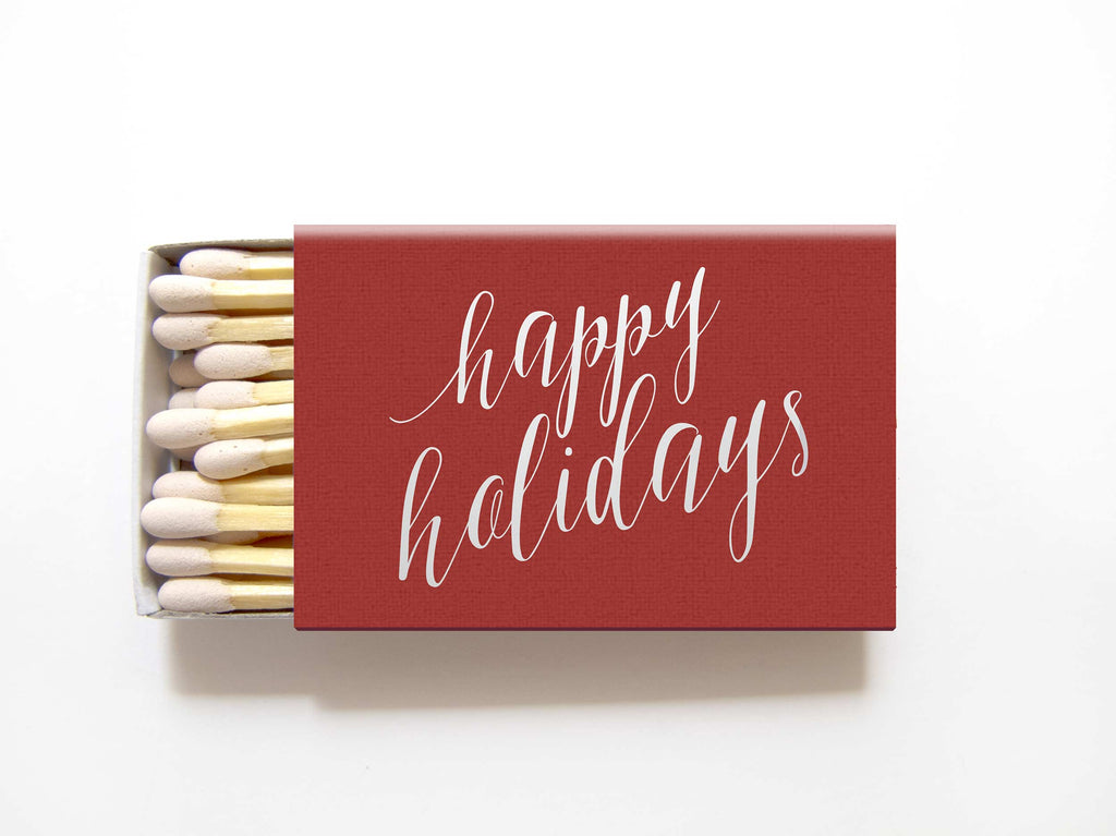 Happy Holidays Matchboxes - Personalized Matches - Mary Collection - Tea and Becky