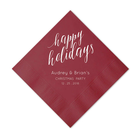Elegant Happy Holidays Napkins - Set of 50 Personalized Holiday Napkins - Mary Collection - Tea and Becky