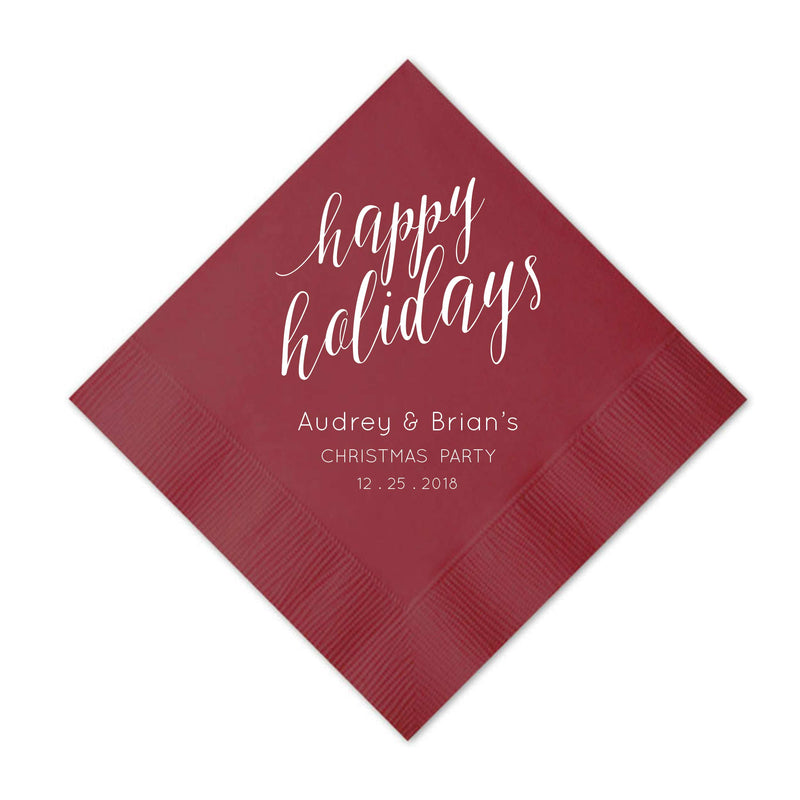 Elegant Happy Holidays Napkins - Personalized Holiday Napkins - Tea and Becky
