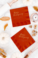 Happy Thanksgiving Napkins - Personalized Set of 100 - Tea and Becky